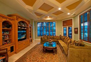 Contemporary Living Room with French doors, Built-in bookshelf, Exposed beam, Concrete tile