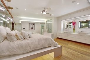 Contemporary Master Bedroom with can lights, Standard height, flush light, Pendant light, Ceiling fan, French doors