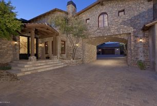 Rustic Front of Home with Pathway, Glass and decorative iron door, Pave tile- outdoor living terracotta tile, Trellis