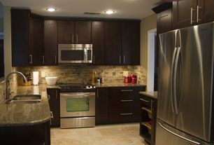 Contemporary Kitchen with Flat panel cabinets, U-shaped, Cabinet finish, Flush, Ceramic Tile, custom slate tile backsplash