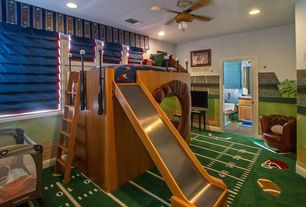 Traditional Kids Bedroom with Wall mural, Baseball Glove Chair & Ottoman, Between Posts Unique Beds, Carpet, Ceiling fan