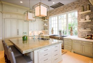 Traditional Kitchen with Complex Marble, Simple granite counters, Visual comfort studio caged ceiling lantern in brass, Paint