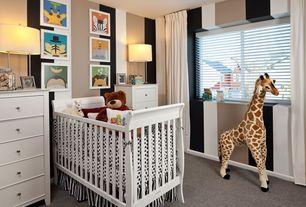 Contemporary Kids Bedroom with interior wallpaper, Carpet, Melissa & Doug Oversized Giraffe