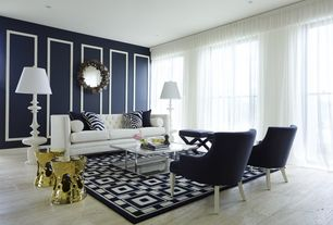 Contemporary Living Room with Wainscotting, Laminate floors
