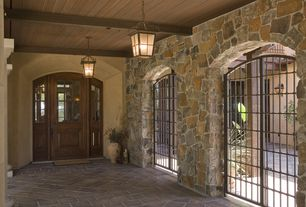 Rustic Front Door with Glass panel door, Gate, exterior stone floors