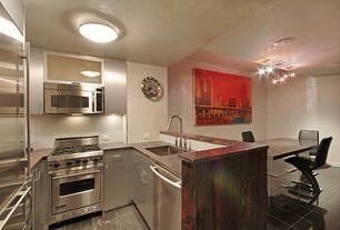 Modern Kitchen with full backsplash, gas range, Dining table lucite base, Standard height, Onyx counters, flush light