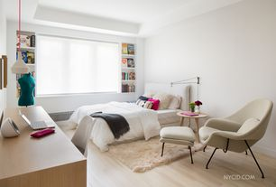 Modern Kids Bedroom with Hardwood floors, Pendant light, Wool Womb Chair and Ottoman Inspired by Eero, Tray ceiling