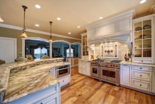 Traditional Kitchen with Kitchen island, Kitchenaid, self-cleaning slide-in dual fuel convection range, Inset cabinets