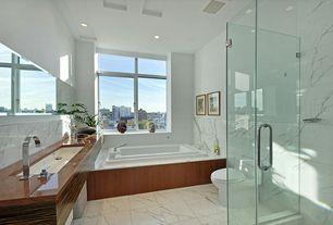 Modern Full Bathroom with Standard height, complex marble tile floors, frameless showerdoor, Wall Tiles, stone tile floors