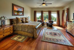 Craftsman Master Bedroom with Hardwood floors, Ceiling fan
