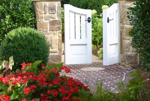 Traditional Landscape/Yard with Gate, Stacked stone column, Pathway, Wam bam traditional 6' x 4' arched gate, Fence
