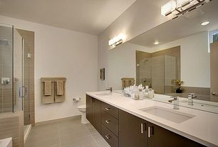 Contemporary Master Bathroom with Flush, Master bathroom, frameless showerdoor, Double sink, Undermount sink, Corian counters