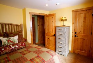 Rustic Master Bedroom with specialty door, Carpet