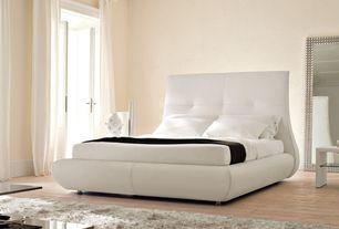 Modern Master Bedroom with French doors, Pottery Barn Cameron Cotton Tab Top Drape, Hardwood floors, Crown molding