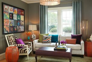 Eclectic Living Room with Paint, double-hung window, flush light, Crown molding, Hardwood floors, Standard height