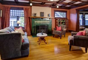 Craftsman Living Room with flush light, stone fireplace, metal fireplace, Box ceiling, Hardwood floors, Crown molding