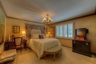 Mediterranean Master Bedroom with Crown molding, Carpet, Chandelier, interior wallpaper