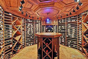 Traditional Wine Cellar with flush light, Pendant light, sandstone floors, Built-in bookshelf