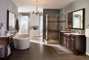 Traditional Full Bathroom with Bathtub, Limestone counters, Kraftmaid cabinetry, Undermount sink, Standard height, Paint
