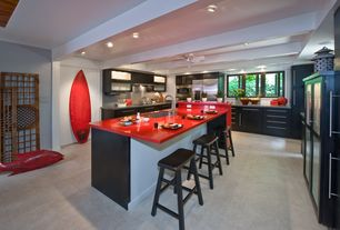 Contemporary Kitchen with MS International Beton Concrete Glazed Porcelain Floor and Wall Tile