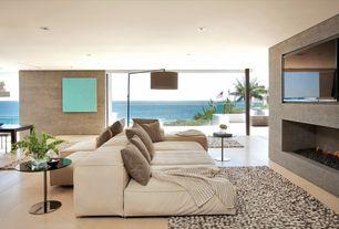 Contemporary Living Room with Eurostyle-Raina End Table, Nuevo- Raku Floor Lamp, stone fireplace, Laminate floors