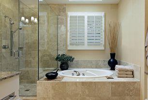 Contemporary Master Bathroom with Paint 1, Standard height, Ms international - autumn beige granite, Skylight, Paint 2