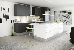 Contemporary Kitchen with Black cabinets, Pendant light, Breakfast bar, Multiple Refrigerators, Wall Hood, Kitchen island