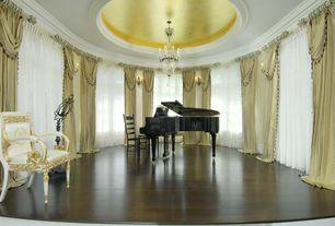 Traditional Great Room with Wall sconce, Chandelier, Laminate floors, Crown molding