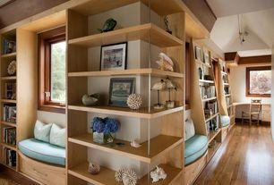 Contemporary Hallway with Built-in bookshelf, Hardwood floors, Oak - Fawn 2 1/4 in. Solid Hardwood Strip, Window seat