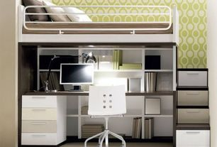 Contemporary Kids Bedroom with Xiorex - gami montana loft beds with desk, closet & storage underneath, paint2, paint3