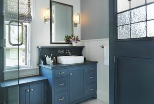 Modern Full Bathroom with Wall sconce, Wainscotting, Paint, Flat panel cabinets, Soapstone counters, Roman shade, Casement
