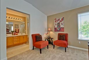 Contemporary Master Bedroom with Standard height, Wall sconce, Carpet, picture window, Paint, Built-in bookshelf