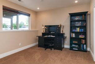Traditional Home Office with Carpet, can lights, Standard height, Casement