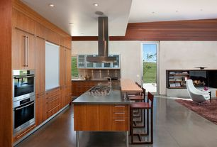 Contemporary Kitchen with Breakfast bar, Flush, Stainless steel counters, Stainless Steel, European Cabinets, Concrete tile