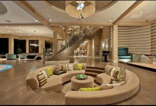 Contemporary Living Room with Fabric shade glass floats chandelier, Columns, Chartreuse accent pillows, Sunken living room