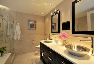 Contemporary Master Bathroom with American Standard Serin Single Hole Bathroom Faucet, Quartz countertop, Inset cabinets