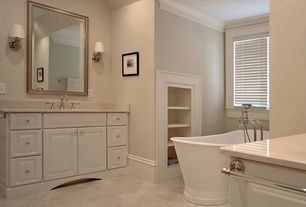 Master Bathroom with pental porcelain agora in white, Wall sconce, Freestanding, Inset cabinets, Raised panel, Limestone