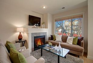 Contemporary Living Room with Casement, Fireplace, stone fireplace, Paint, Safavieh Malibu Shag Silver Area Rug, can lights