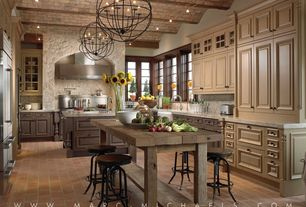 Mediterranean Kitchen with Raised panel, Quartz, Caesatstone - frosty carrina, Chandelier, Home Styles Aspen Kitchen Island