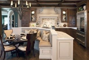 Traditional Kitchen with Glass panel, Box ceiling, Exposed beams, Chandelier, Complex marble counters, Breakfast nook