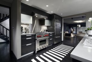 Contemporary Kitchen with Built In Refrigerator, full backsplash, gas range, Kitchen island, European Cabinets, Paint, Flush
