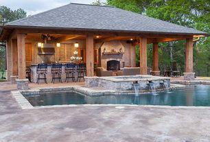 "Rustic Porch with Pathway, Eldorado Stone Cliffstone, Home Loft Concept Molino 29.5"" Bar Stool, exterior tile floors"