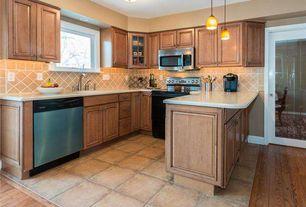 Traditional Kitchen with Undermount sink, Flush, U-shaped, Limestone Tile, Pendant light, flush light, slate tile floors