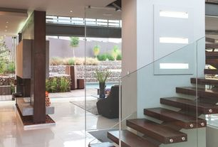 Contemporary Staircase with Standard height, Metal staircase, can lights, Concrete tile