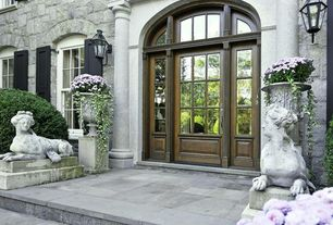 Traditional Front Door with Georgian mansion, Glass panel door with sidelights, Exterior shutters, Arched transom window