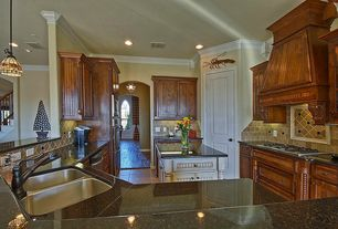 Traditional Kitchen with Ms International Tuscany Gold Travertine Tile, Custom Service Hardware Nantucket Range Hood, Flush