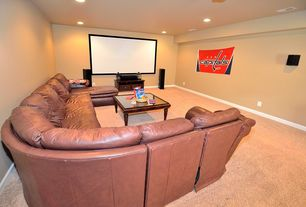 Traditional Home Theater with Carpet, Leather sectional sofa