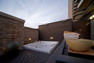 Contemporary Master Bathroom with Outdoor shower, Cathedral ceiling, Horizontal wood paneling, Wall sconce, Master bathroom