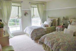 Traditional Guest Bedroom with Double bed, Paisley bedspread, Carpet, Roman shades