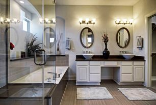 Traditional Master Bathroom with Double sink, Inset cabinets, Raised panel, Master bathroom, Soapstone counters, Vessel sink